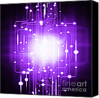 Black Digital Art Canvas Prints - Abstract Circuit Board Lighting Effect  Canvas Print by Setsiri Silapasuwanchai