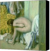 Wet Pastels Canvas Prints - After the Bath Canvas Print by Edgar Degas