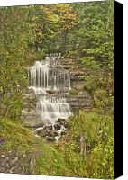 Alger Falls Canvas Prints - Alger Falls Canvas Print by Michael Peychich