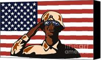 Stars And Stripes Canvas Prints - American soldier saluting flag Canvas Print by Aloysius Patrimonio