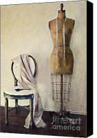 Feminine Canvas Prints - Antique dress form and chair with vintage feeling Canvas Print by Sandra Cunningham