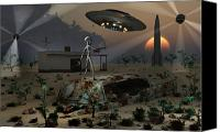 Aliens Canvas Prints - Artists Concept Of A Science Fiction Canvas Print by Mark Stevenson