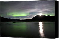 Wiseman Alaska Canvas Prints - Aurora Borealis And Moon Canvas Print by Chris Madeley