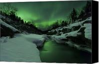 Polar Aurora Canvas Prints - Aurora Borealis Over Tennevik River Canvas Print by Arild Heitmann