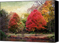 Maple Trees Digital Art Canvas Prints - Autumns Canvas Canvas Print by Jessica Jenney