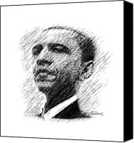 Portrait Barack Obama Canvas Prints - Barack Obama Canvas Print by John Travisano