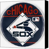 White Sox Canvas Prints - Baseball Button Canvas Print by Granger