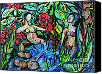 Landscapes Pastels Canvas Prints - Bathers 98 Canvas Print by Bradley Bishko