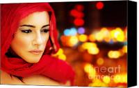 Abstract Hijab Canvas Prints - Beautiful arabic woman Canvas Print by Anna Omelchenko