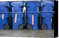 Garbage Canvas Prints - Blue Recycle Bins Canvas Print by Don Mason