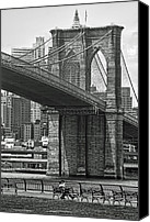 White Photo Special Promotions - Brooklyn Bridge Canvas Print by Alexander Mendoza
