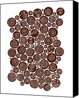 Wine Drawings Canvas Prints - Brown Abstract Canvas Print by Frank Tschakert