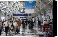 Airport Concourse Canvas Prints - Busy airport terminal concourse at Chicagos OHare airport Canvas Print by Purcell Pictures