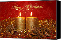 Christmas Cards Canvas Prints - 2 Candles Christmas Card Canvas Print by Aimelle