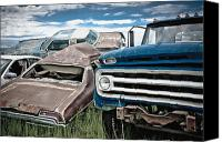 Garbage Canvas Prints - Car Scrapyard Canvas Print by Dave & Les Jacobs