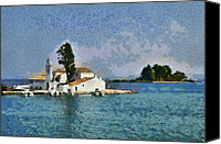 Trip Canvas Prints - Chapel and islet painting Canvas Print by George Atsametakis