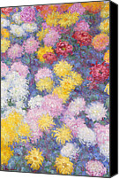 Signed Painting Canvas Prints - Chrysanthemums Canvas Print by Claude Monet