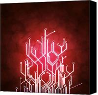 Illustration Canvas Prints - Circuit Board Canvas Print by Setsiri Silapasuwanchai