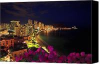 Waikiki Canvas Prints - Classic Waikiki Nightime Canvas Print by Tomas del Amo - Printscapes