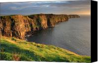 Co Canvas Prints - Cliffs of Moher co. Clare Ireland Canvas Print by Pierre Leclerc