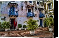 Damp Canvas Prints - Colonial buildings in old Cartagena Colombia Canvas Print by David Smith