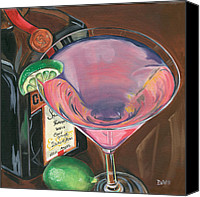Lime Painting Canvas Prints - Cosmo Martini Canvas Print by Debbie DeWitt