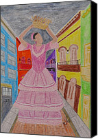 Puerto Rico Drawings Canvas Prints - Dancer in Viejo San Juan Canvas Print by Jessica Cruz