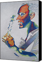 Singer Drawings Canvas Prints - Dave Matthews Canvas Print by Joshua Morton