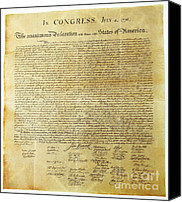 Independence Day Canvas Prints - Declaration Of Independence Canvas Print by Photo Researchers, Inc.