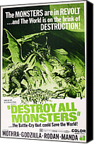 1960s Poster Art Canvas Prints - Destroy All Monsters, Aka Kaiju Canvas Print by Everett