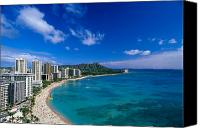 Waikiki Canvas Prints - Diamond Head And Waikiki Canvas Print by William Waterfall - Printscapes