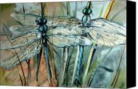Insects Painting Canvas Prints - Dragonflys Canvas Print by Donald Maier