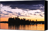 Breathtaking Canvas Prints - Dramatic sunset at lake Canvas Print by Elena Elisseeva