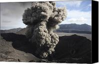 Eruption Canvas Prints - Eruption Of Ash Cloud From Crater Canvas Print by Richard Roscoe