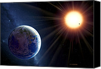 Alien Planets Canvas Prints - Extrasolar Planet Gliese 581c, Artwork Canvas Print by Detlev Van Ravenswaay