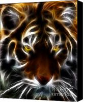 Lion Digital Art Canvas Prints - Eye of The Tiger Canvas Print by Wingsdomain Art and Photography