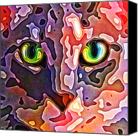Animals Digital Art Canvas Prints - Feline Face Abstract Canvas Print by David G Paul