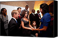 Michelle Obama Canvas Prints - First Lady Michelle Obama Greets Canvas Print by Everett