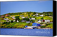 Jetty Canvas Prints - Fishing village in Newfoundland Canvas Print by Elena Elisseeva