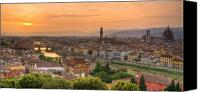 Florence Canvas Prints - Florence Sunset Canvas Print by Mick Burkey