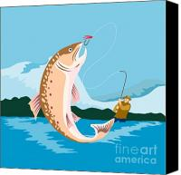 Trout Digital Art Canvas Prints - Fly fisherman catching trout Canvas Print by Aloysius Patrimonio