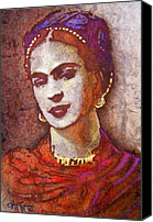 Handmade Paper Canvas Prints - Frida  Canvas Print by Juan Jose Espinoza