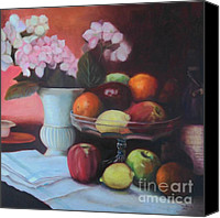 Glass Oil Dish Canvas Prints - Fruit on Glass Dish Canvas Print by Marlene Book