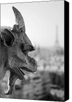Guardian Angel Canvas Prints - Gargoyle guarding the Notre Dame Basilica in Paris Canvas Print by Pierre Leclerc