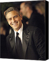 Black Tie Photo Canvas Prints - George Clooney At Arrivals For The Canvas Print by Everett