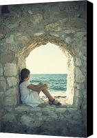 Stone Wall Canvas Prints - Girl At The Sea Canvas Print by Joana Kruse