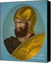 Portrait Woodblock Canvas Prints - Hannibal, Carthaginian Military Canvas Print by Photo Researchers