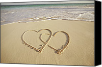 Dedication Canvas Prints - 2 Hearts Drawn On The Beach Canvas Print by Gen Nishino