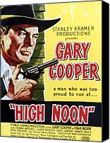 1950s Poster Art Canvas Prints - High Noon, Gary Cooper, 1952 Canvas Print by Everett