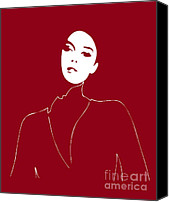 Faces Drawings Canvas Prints - Illustration of a woman in fashion Canvas Print by Frank Tschakert